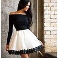 Горячая Осень стиль летнее платье 2016 Новая Мода vestidos Черный платье Повседневная линия полный рукав слэш шеи мини женщины платья