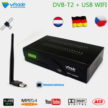 Vmade DVB-T2/T H.265/HEVC HD 1080P Digital Terrestrial TV Receiver Support RJ45 Network Dolby AC3 + WIFI Stardard Set-Top Box