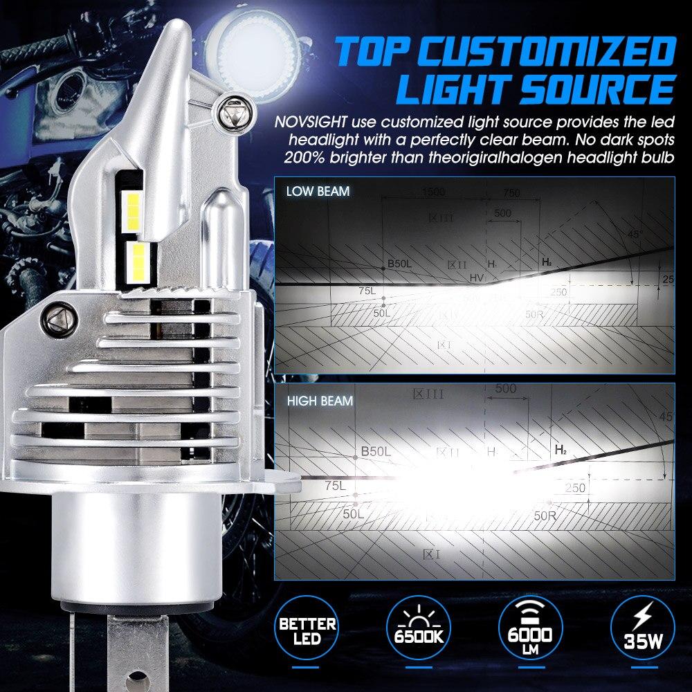 NOVSIGHT H4 LED Motorcycle Headlight Bulb 6000LM 35W Hi/Lo Conversion Kit 6500K Motor Bike Headlamp