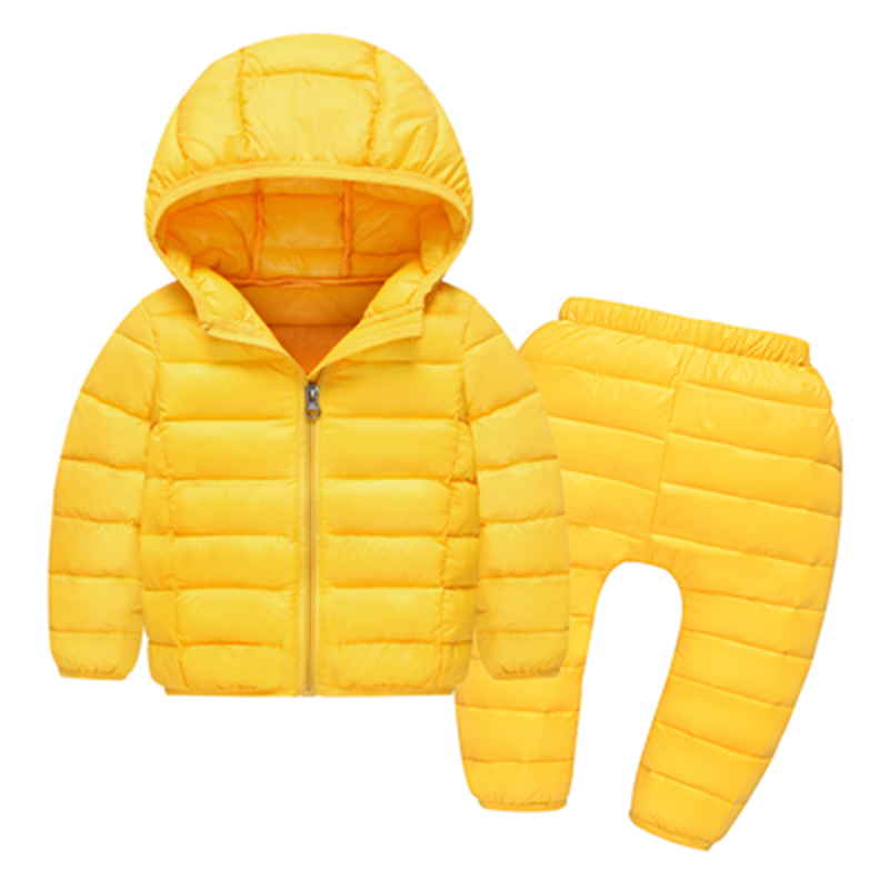Autumn winter toddler baby girls boys clothes sets 2pcs hooded down jacket pants infant baby warm outerwear suit