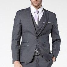 Gray Slim Fit Men Suits for Wedding Prom Groom Tuxedos Notched Lapel 3 Piece Gentleman Costumes Set Jacket Pants Vest