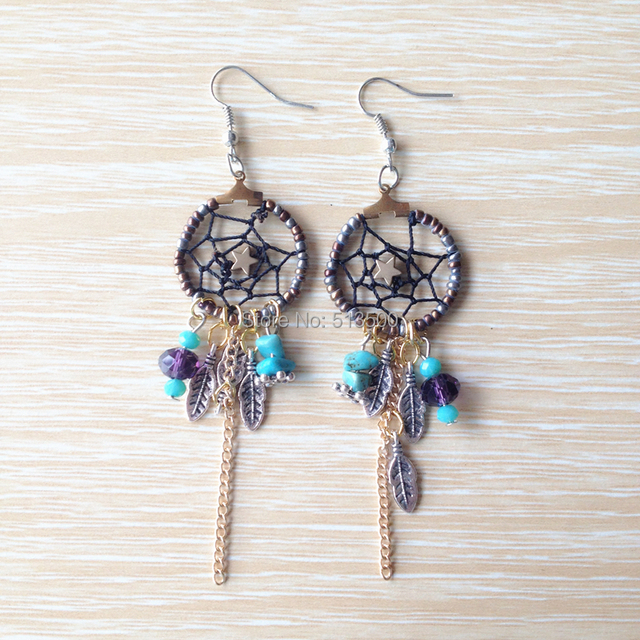 1pair Free Shipping Factory Price Native American Handmade Earrings Dream Catcher Earring
