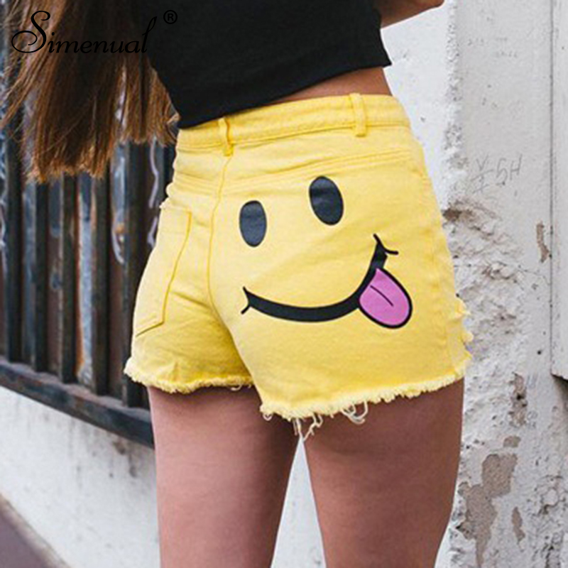 Simenual Ripped fringe yellow   shorts   for women summer clothing 2018 slim sexy cute high waist   short   feminino funny bottoms wear