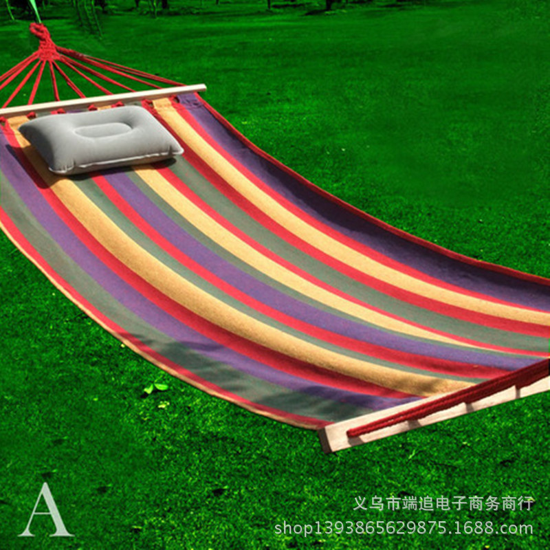 Colour Bar  Inspissate Canvas Hammock Outdoors  Single Bed Leisure Stick Hammock  Send Bands  Hammock  Bedroom Furniture