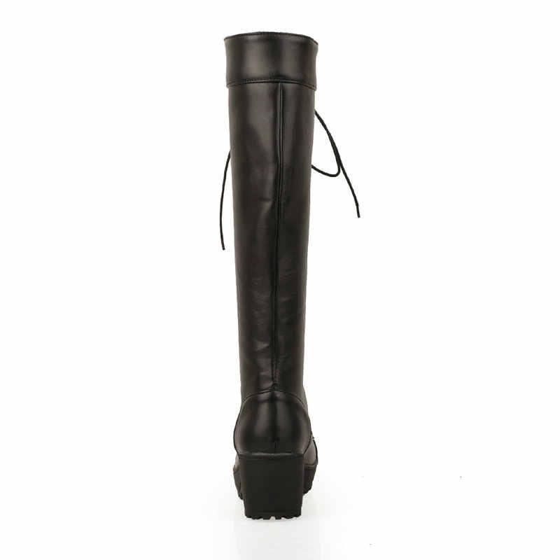 Kadın Kalın Yüksek Topuk Diz Yüksek Çizmeler Platformu Moda Lace Up Kış Kadın Ayakkabı Siyah Beyaz Kahverengi