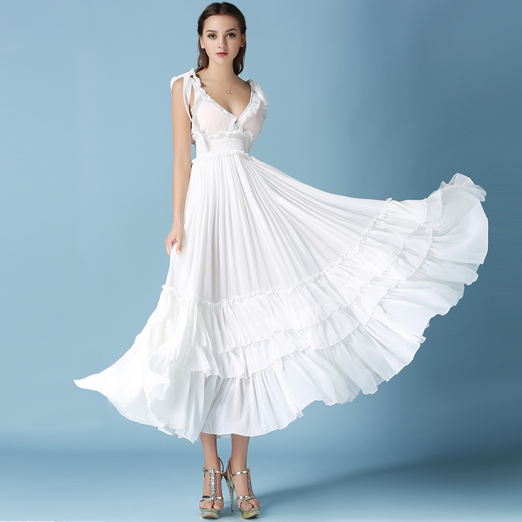 JUANBO 2017 Summer Fashion Women White Long Dress Big Swing Goddess Cute Pleated Sleeveless Maxi Dresses Dress
