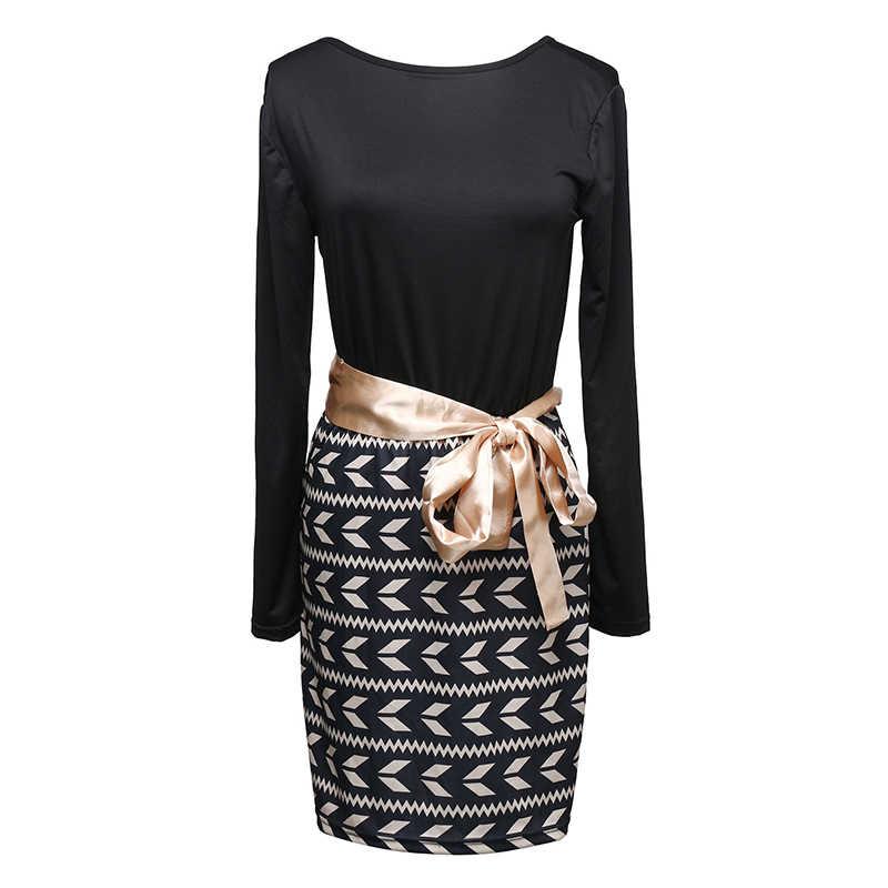 OL дамы 2018 поступление Vestidos повседневное Slim Fit зимнее платье с длинным рукавом Контрастность Bodycon Бандажное платье знаменитость для женщин платья для