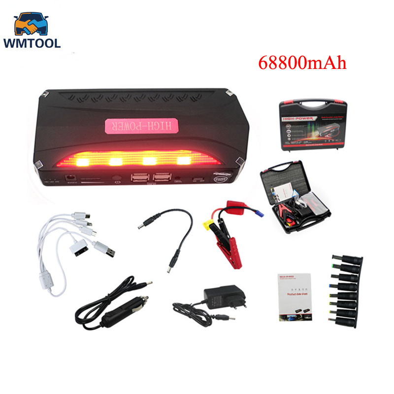 New 68800mAh Car Jump Starter Portable 4 USB Car Power Supply Rechargeable Power Bank High Power Battery Accessory hot selling
