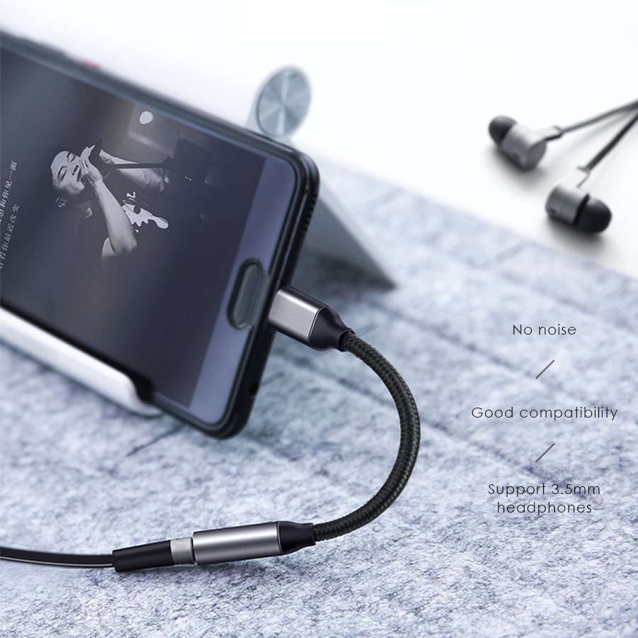 CBAOOO Type C to 3 5mm Jack Earphone Cable USB Type C 3 5 AUX Headphone Adapter for Huawei Mate 10 P20 Xiaomi Mi 6 6X Mix 2s