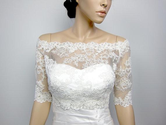 Boléro de mariage ivoire mousseline de soie Vintage Capes Simple grande taille robe de mariée Coak veste dentelle bordé col rond couleur disponible