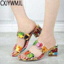 CXJYWMJL Summer Women Multi Colors Sandals Fashion High Heels Open Toe Beach Flip Flops Ladies Crystal Shoes Woman 6857