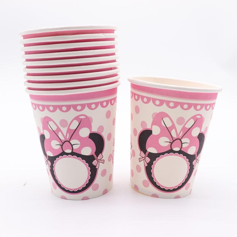 154 32 De Descuento10 Piunidslote Rosa Minnie Mouse Cumpleaños Fiesta Minnie Oreja Dibujos Animados Vasos Desechables Para Decoración De Bebé