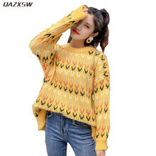 Qazxsw 2019 New Women Spring Autumn Sweater O-neck Loose Vintage Knitted Tops Korean Style Casual Pullovers Yellow Coat AC225