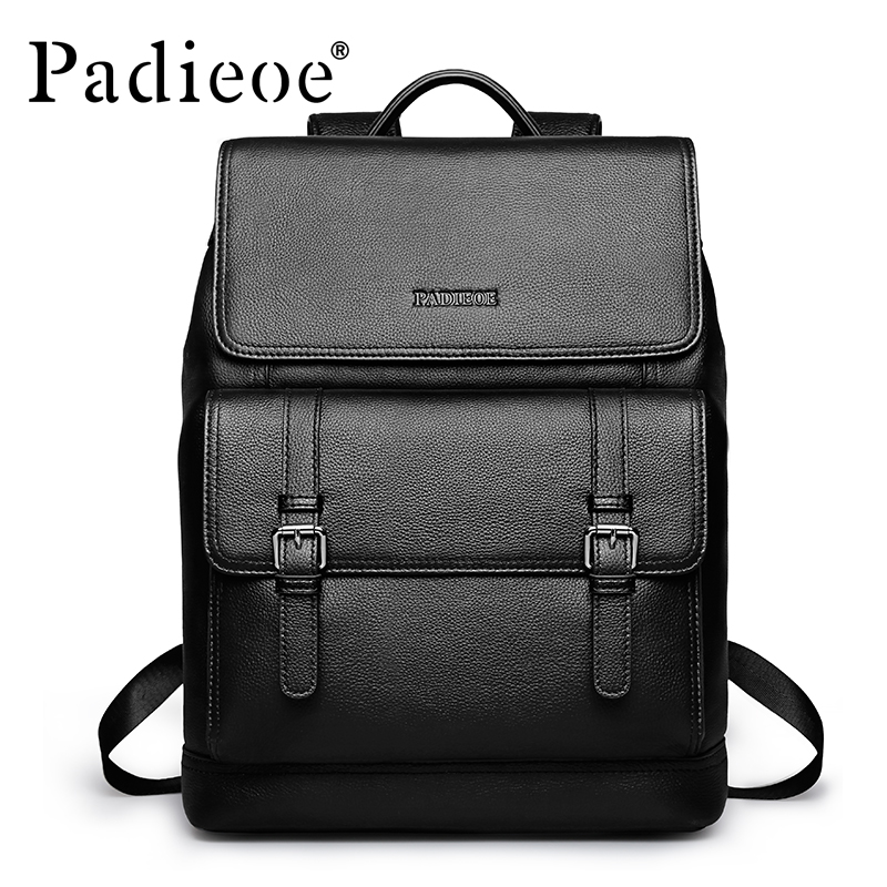 Brand Padieoe Genuine Leather School Bags For Teenagers Backpack New Men Travel Casual Cowhide Laptop Backpack Free Shipping