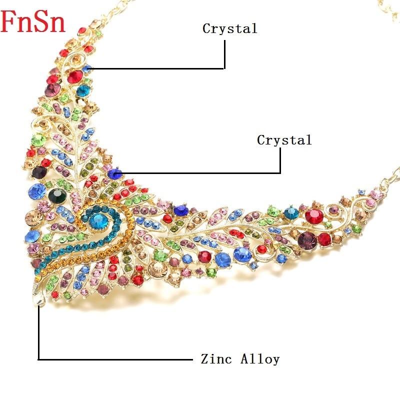 Fnsn forró új ékszer szett kristályos zakó nyaklánc szett női - Divatékszer - Fénykép 5