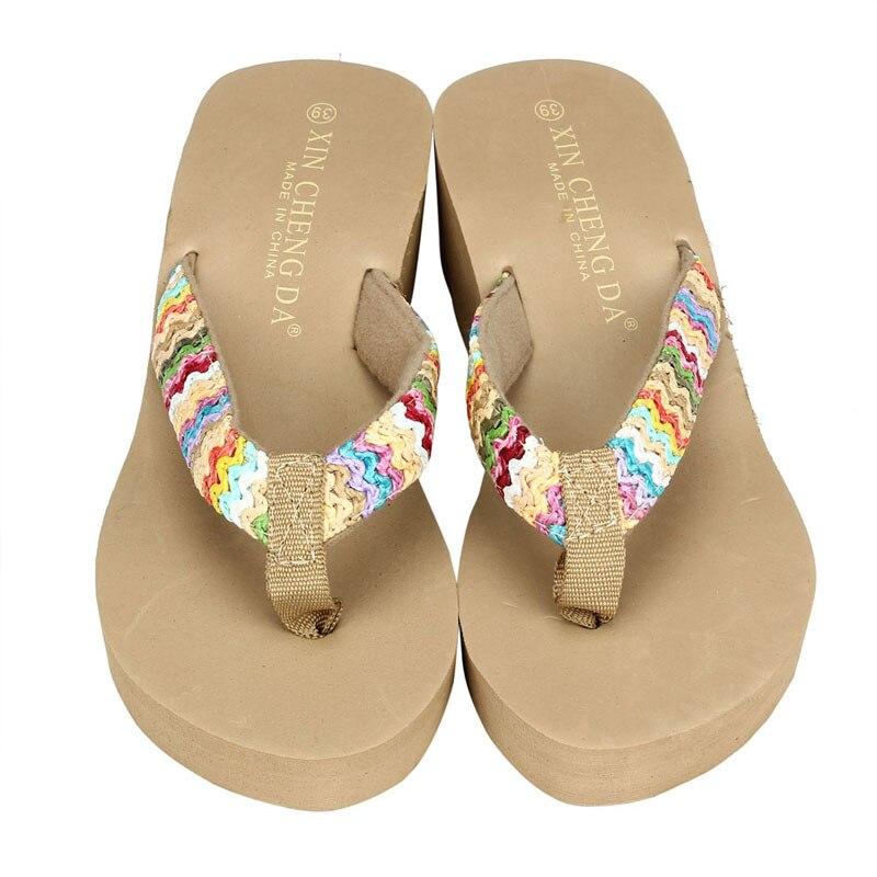 Ulrica 2017 New Arrival Summer Platform Sandals Beach Flat Wedge Patch Flip Flops Lady Slippers Women