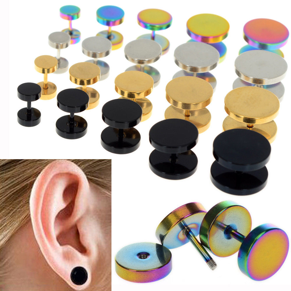 6-14mm 4 Colors 1pair Punk Stud Earrings Men Women Circular Titanium Round Barbell Stud Earrings Barbell Body Jewelry