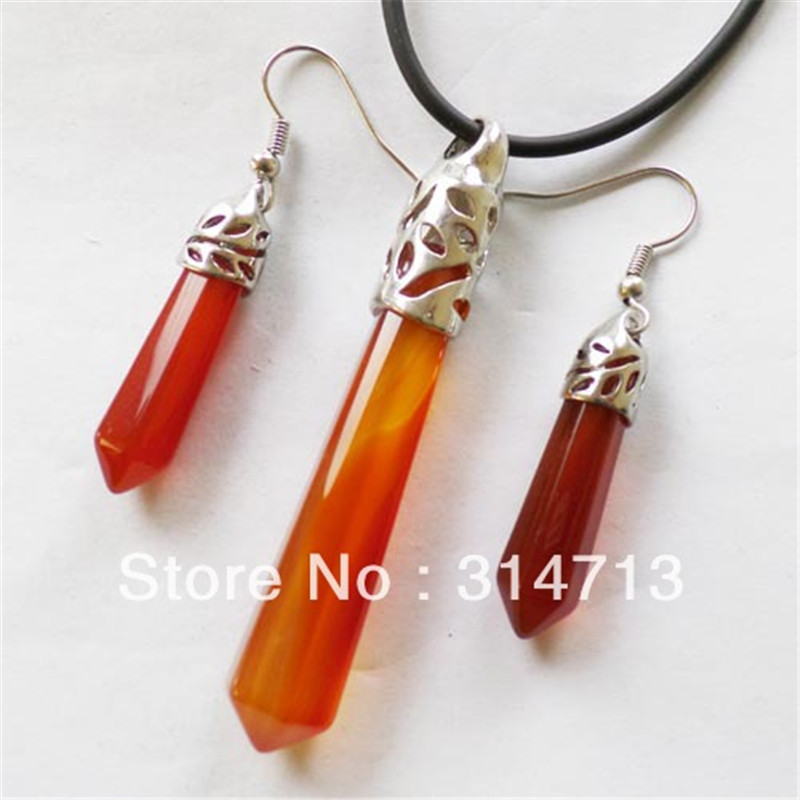 (Min.order 10$ mix) 3pcs/lot Free shipping Red Stone Faceted Pendulum Necklace & Earrings Set