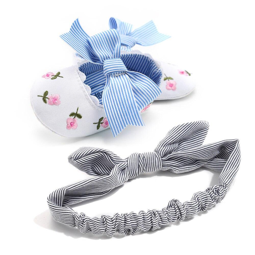 Novo Bebê Primavera Outono Sapatos Casuais Para A Menina Listrado Toddlers Prewalkers Butterfly-nó Purfle Rasa Com Headband