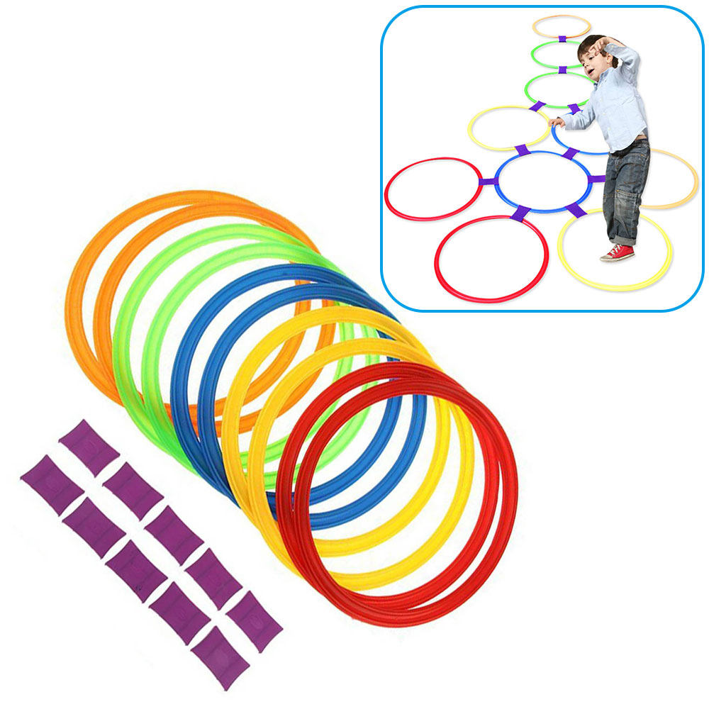 Colorful Children Lattice Jump Hopscotch Ring Set Game with 10 Hoops Connectors for Outdoor Park Play For Kid Preschool Teach