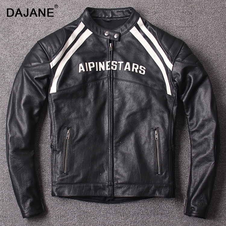 Highway 63. Men's genuine leather overalls The first layer cowhide genuine leather Collar motorcycle genuine leather jackets