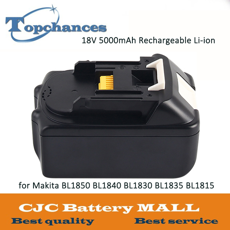 ELEOPTION For Makita 18V Battery 5000mAh Rechargeable Lithium-ion Li-ion Battery for Makita BL1850 BL1840 BL1830 BL1835 BL1815 hot 2x 18v 4 0ah battery for makita bl1840 bl1830 bl1815 lxt lithium ion cordless