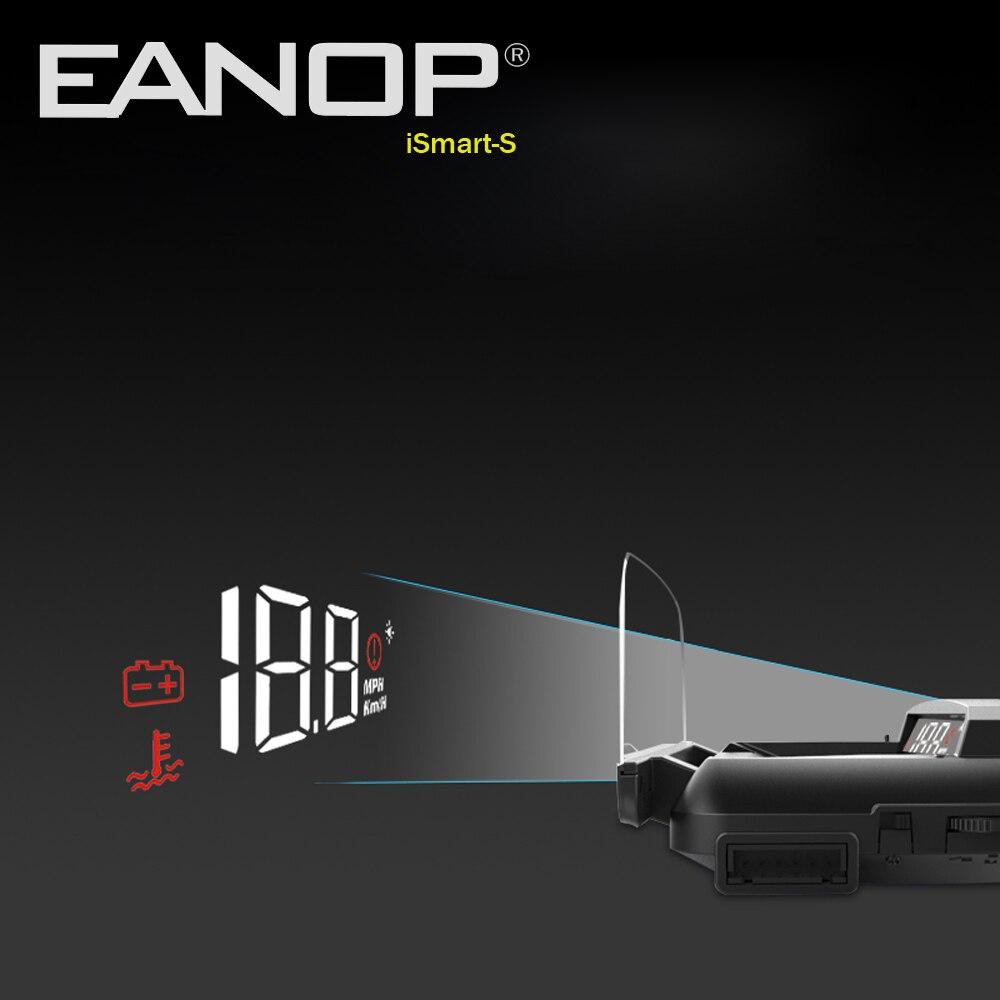 EANOP iSmart-S HUD Velocidade de Exibição Car Windsheild OBD2 Headsup Projetor KHM KPM Troca Com Espelho Tensão Temperatura Da Água