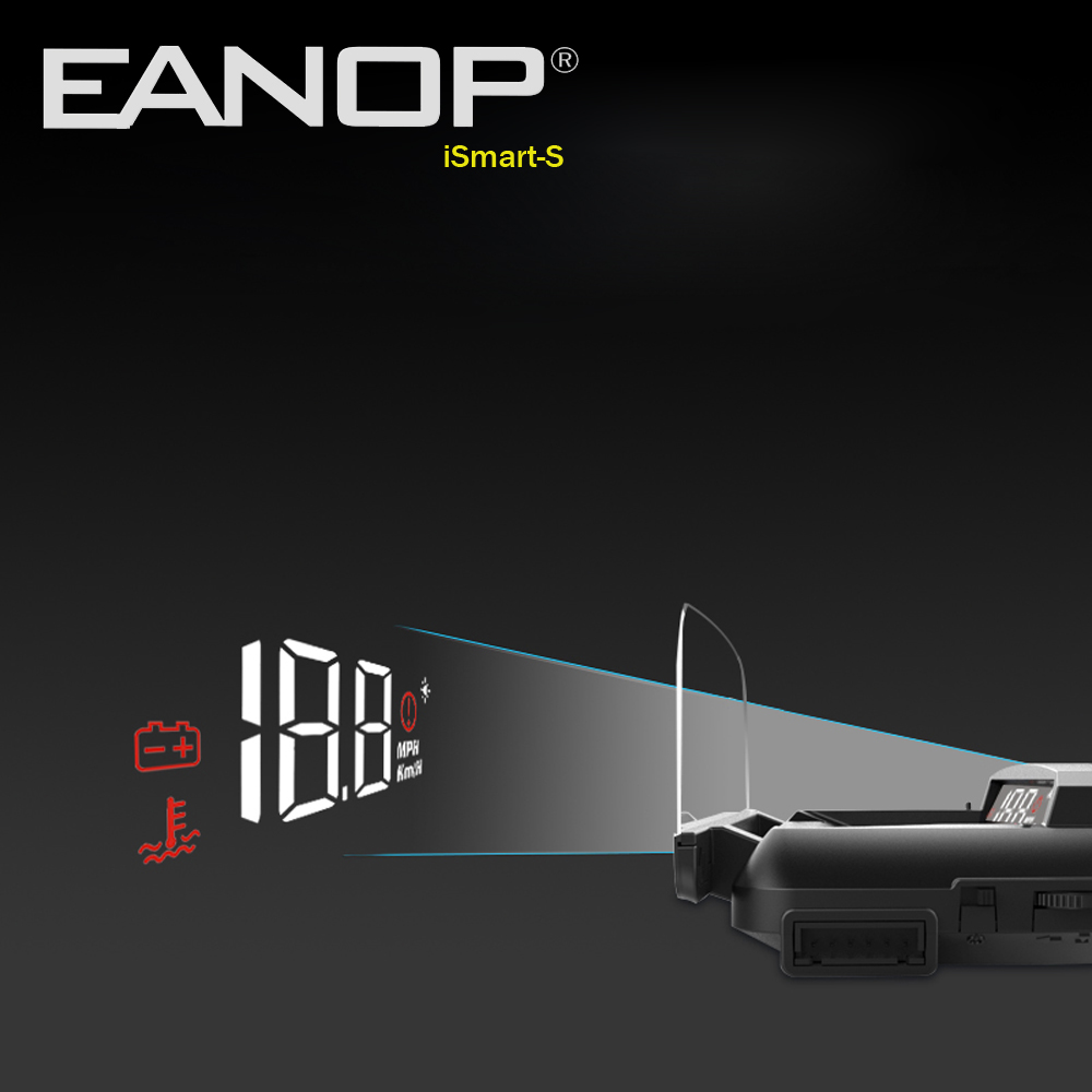 EANOP ISmart-S Hud Display Car OBD2 Windsheild Speed Projector Speedometer Voltage Monitor KHM KPM Convert
