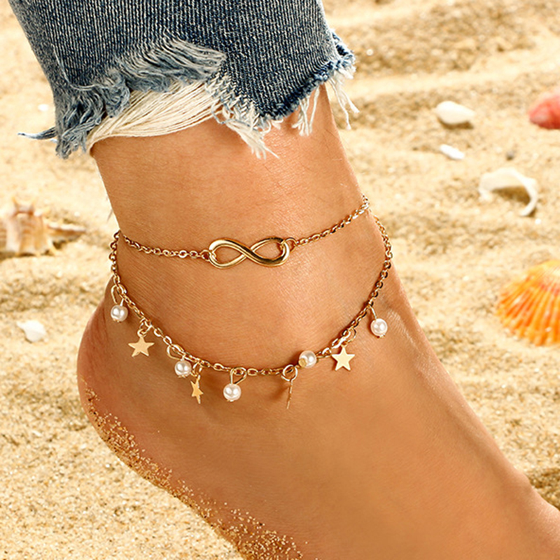 Vintage Gold Anklet Female Letter Heart