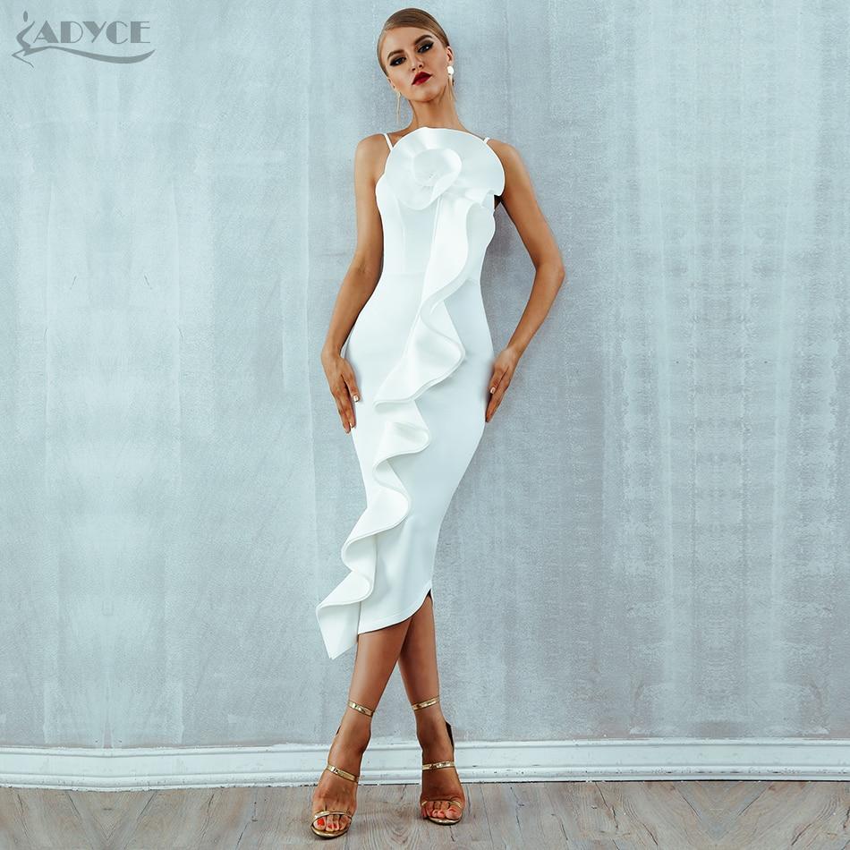 Adyce New Summer Women Celebrity Party Dress Vestidos Verano 2018 Sexy Sleeveless Ruffles Floral Pink White Bodycon Club Dresses