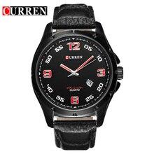 8121 CURREN Casual Relojes Para Hombre Relojes de Pulsera de Cuero Genuino Para Los Hombres A Prueba de agua 30 M Auto Fecha Reloj de Cuarzo de Lujo