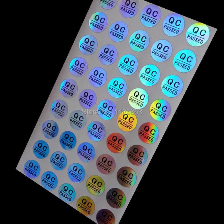 En gros 500 pcs/lot rond 10mm QC étiquette autocollant étiquette personnalisée autocollant adhésif QC passé Laser hologramme autocollants