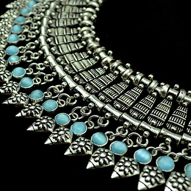 Bohemian Carved Flower Opal Gem  Bib Statement Collar Necklace Women Coin Turkish Gypsy Ethnic Tribal Belly Dance Jewelry