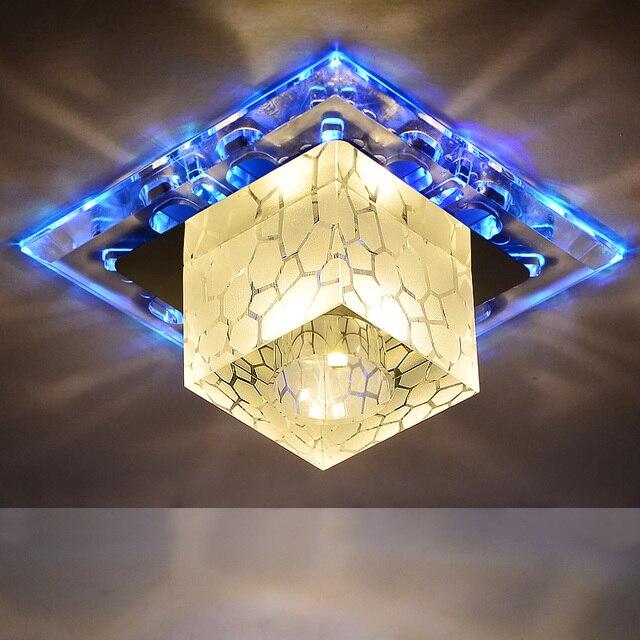 Modern crystal aisle corridor ceiling lights blue purple rgb plafon led ceiling lamp home