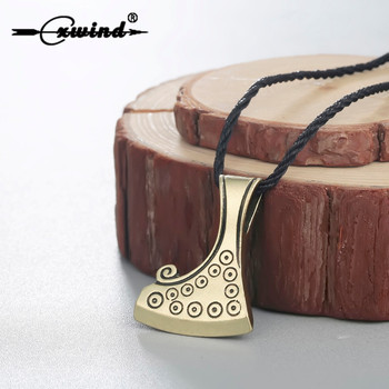 Colgante de bronce Cxwind, colgante de hacha eslava, Dukhobor amuleto, collar de hombre eslavo, hacha de supervivencia, helecho, joyas pendiente de flor