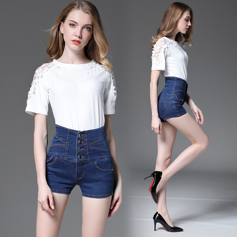 2017 Summer new arrival European Wind big size Women's High Waist Cowboy Shorts JEANS Thin Waist Beautifull Buttocks Jeans 260 30lot professional sound equipment led par64 light 7x18w rgbaw uv par light effect
