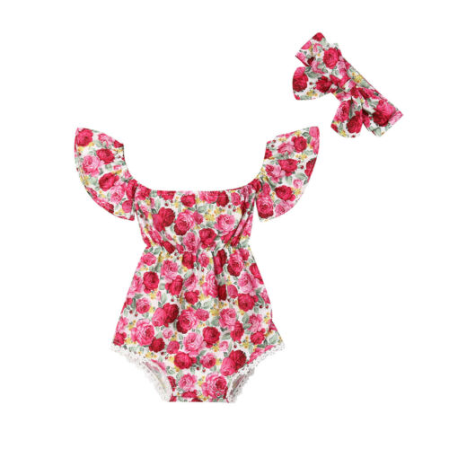 Newborn Baby Girl Floral   Romper   Sunsuit+Headband 2Pcs Casual Outfits Set