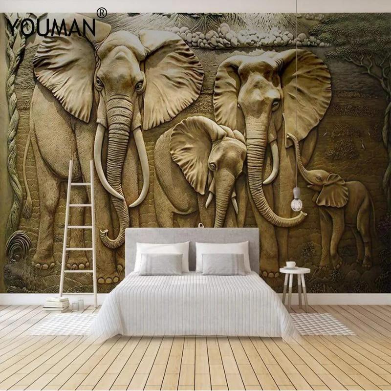 Wallpapers Youman 3 D Wallpaper Tv Wall Mural For Tv Background Golden Elephant Home Decor Bedroom Photo Mural Wallpaper Design Wallpapers Aliexpress