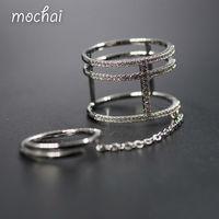 Brand Design Or Couleur Cubique Zircon Multi Mince Couche Double Joints Anneaux Pour Les Femmes De Luxe Simple bijoux ZK42