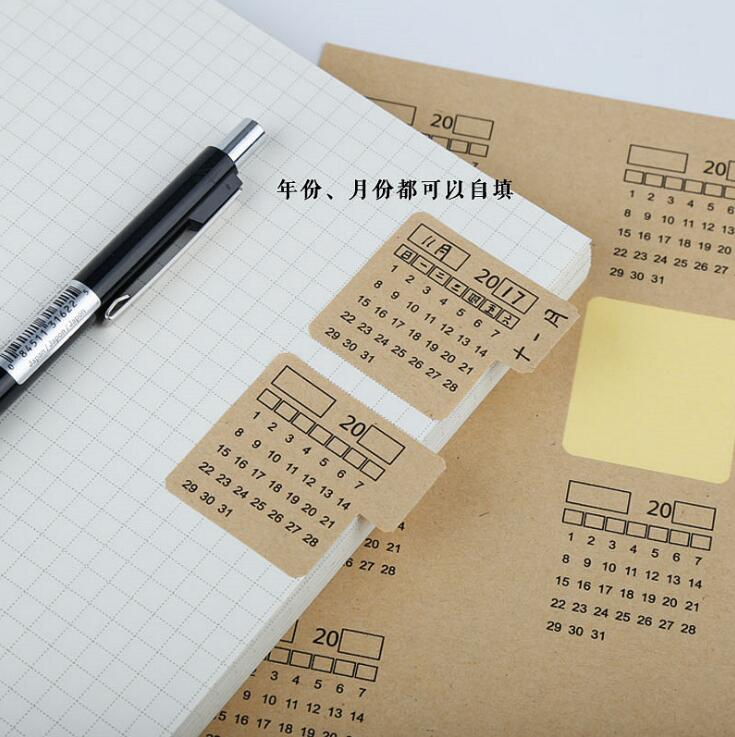 WOKO 4pcs 2020 Vintage Kraft Paper Calendar Index Label Sticker Notebook Index Monthly Category Label Sticker Planner