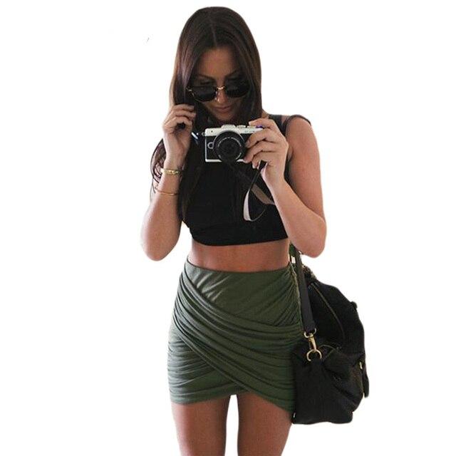f7f64908b 2016 Nuevas Mujeres Atractivas Del Vendaje Faldas de Cintura Alta Mini  Faldas Para Mujer de Falda Lápiz Clubwear Cruz Doble Más Tamaño Falda ...