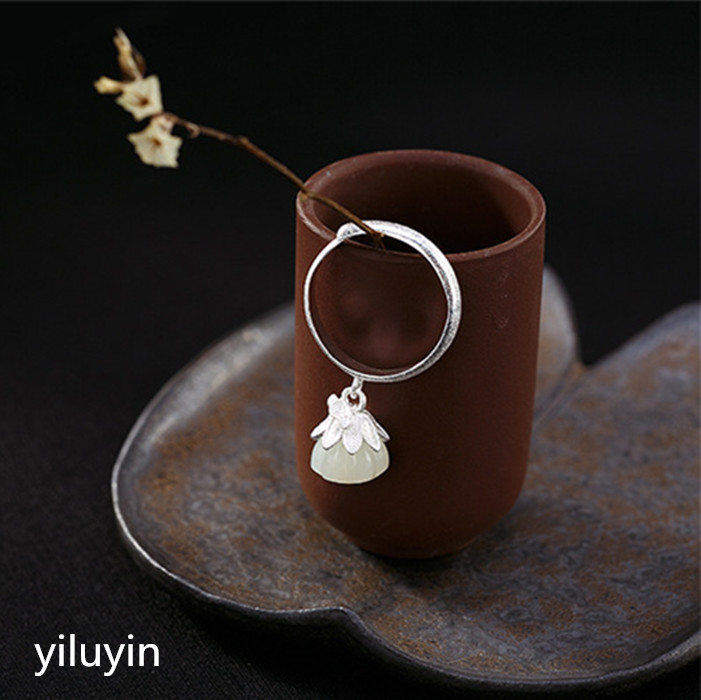 Tian Yu Kjjeaxcmy Boutique Jewelry S990 Pure Silver Natural Jade Open Ring Ring. White Jade Lotus Lady Temperament