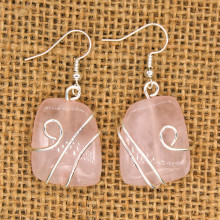 Kraft-beads Silver Plated Wire Wrap Irregular Shape Natural Rose Pink Quartz Earrings For Mother Day Gift