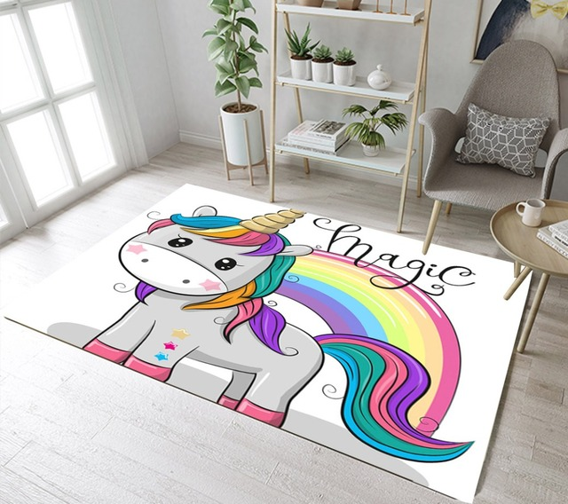 Cute Unicorn And Rainbow Custom Children S Room Floor Area Rugs Living Office Carpets Kitchen Cushion Bathroom Non Slip Mat In Bath Mats From Home