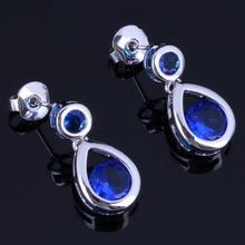 Superb Water Drop Blue Cubic Zirconia 925 Sterling Silver Drop Dangle Earrings For Women V1037 unusual water drop green cubic zirconia 925 sterling silver drop dangle earrings for women v0838