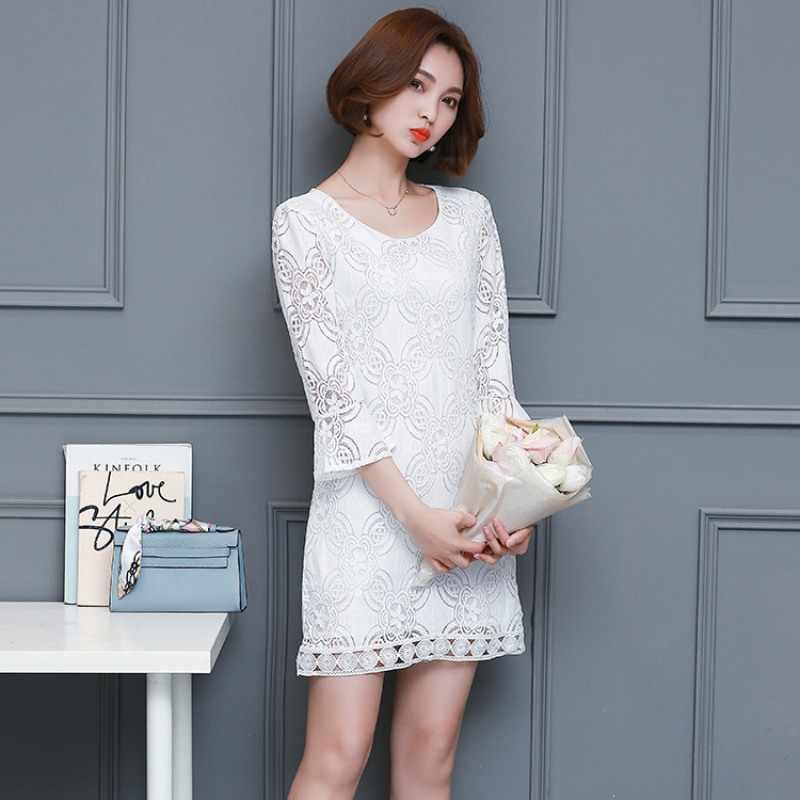 Élégant blanc dentelle évider robe femmes Vintage 3/4 manches Vestidos 2018 automne hiver femmes fête Club robe