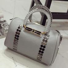 Sling bag designer handbags rivet Doctors bag Holding shape gray Bags handbags women famous brands Women Messenger Bag shoulder