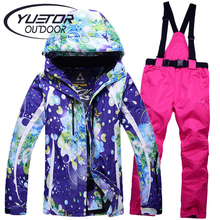 YUETOR Windproof Snowboard Winter Jacket Pants Women Waterproof Outdoor Womens Skiing Clothing Cheap Snow Wear Ski Suit Female