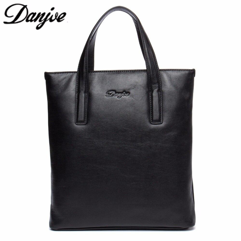 DANJUE Original New Genuine Cow Leather Mans Top Handle Tote Bag Zip Closure Bla