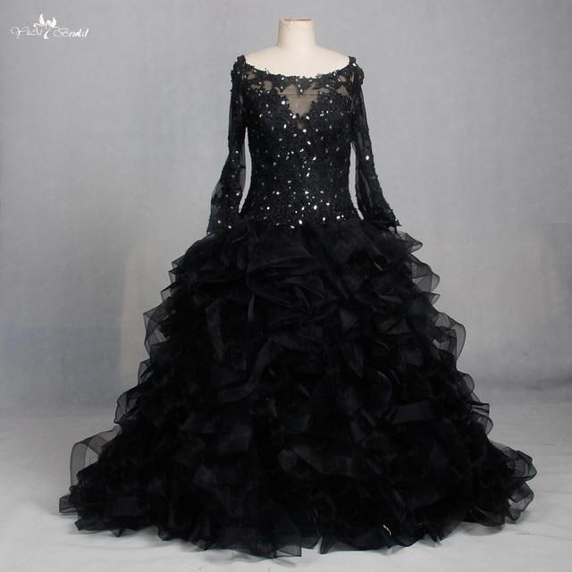 8e45f1df65f LZF004 robe noire col bateau Organza Illusion Sequin robes dentelle à manches  longues robes de soirée